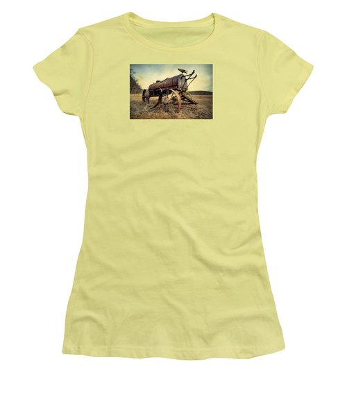 Women's T-Shirt (Junior Cut) featuring the photograph On The Water Wagon - Agricultural Relic by Gary Heller