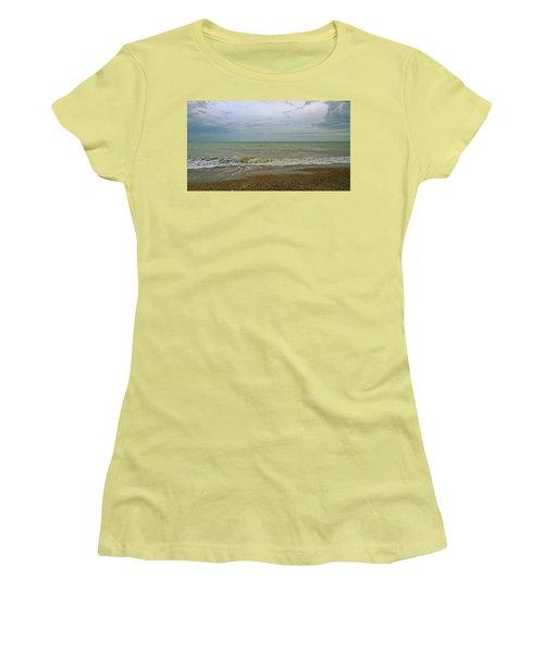 Women's T-Shirt (Junior Cut) featuring the photograph On Weymouth Beach by Anne Kotan
