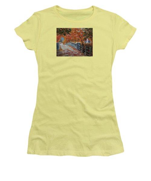 One Lane Bridge Women's T-Shirt (Junior Cut) by Mike Caitham