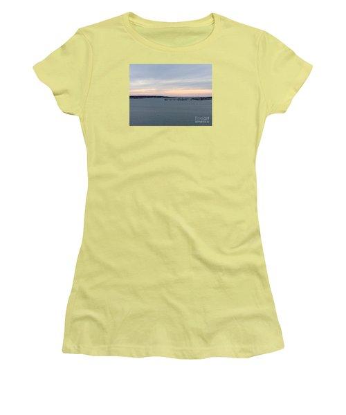 Opalescent January Sunrise On Casco Bay Women's T-Shirt (Junior Cut) by Patricia E Sundik