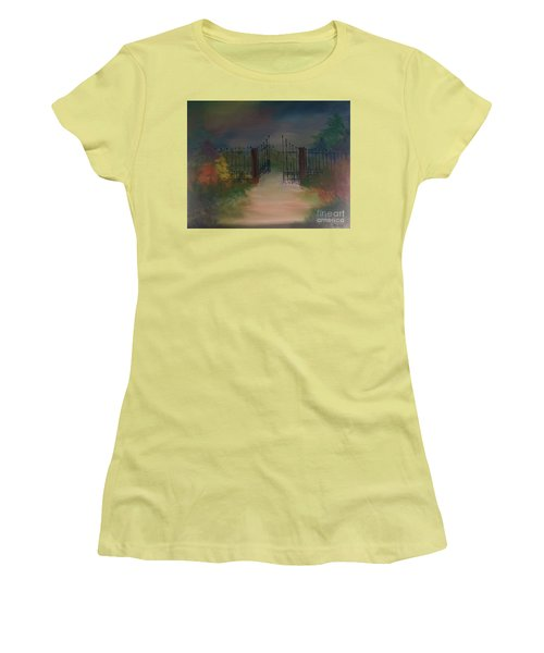 Women's T-Shirt (Athletic Fit) featuring the painting Open Gate by Denise Tomasura