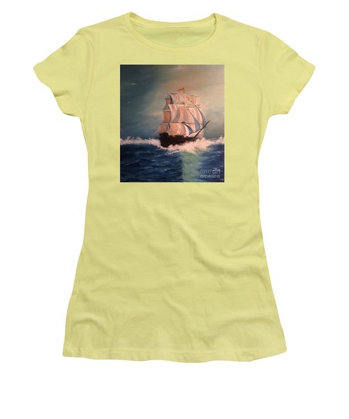 Women's T-Shirt (Athletic Fit) featuring the painting Open Seas by Denise Tomasura