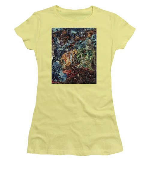 Women's T-Shirt (Junior Cut) featuring the mixed media Opening Of The Fifth Seal After El Greco by Joshua Redman