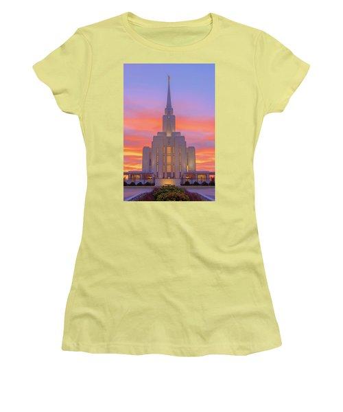 Women's T-Shirt (Junior Cut) featuring the photograph Oquirrh Mountain Temple IIi by Chad Dutson