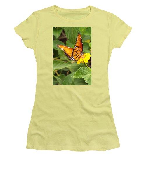 Orange Butterfly Women's T-Shirt (Junior Cut) by Judi Saunders