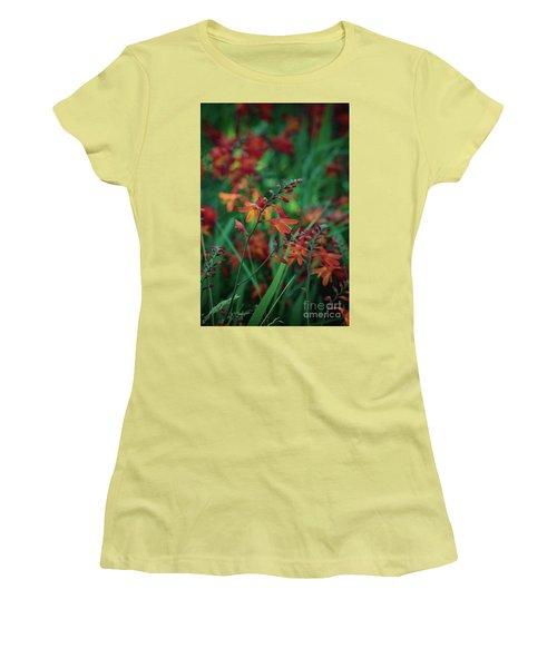 Orange Flowers 8 Women's T-Shirt (Athletic Fit)
