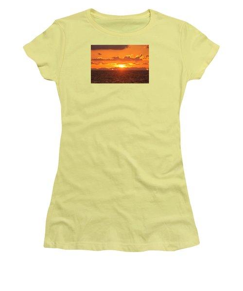 Women's T-Shirt (Junior Cut) featuring the photograph Orange Skies At Dawn by Robert Banach