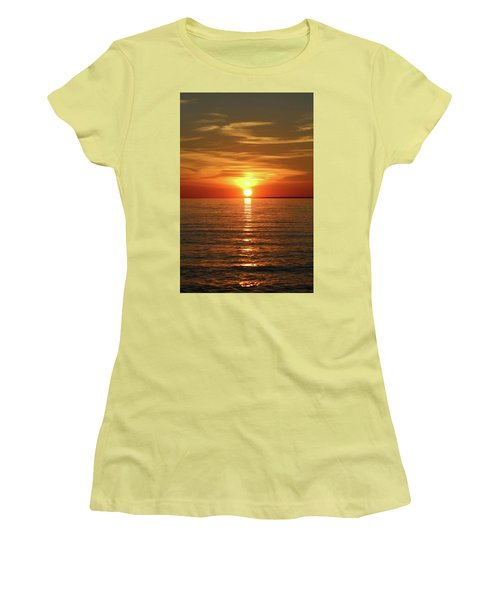 Women's T-Shirt (Junior Cut) featuring the photograph Orange Sunset Lake Superior by Paula Brown