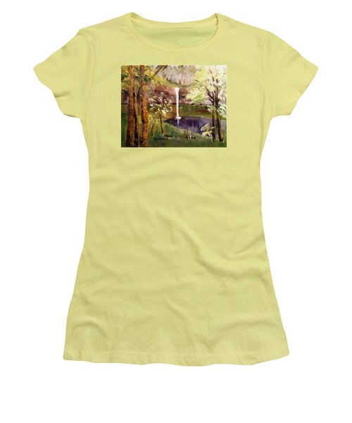 Oregon Waterfall Women's T-Shirt (Junior Cut) by Larry Hamilton