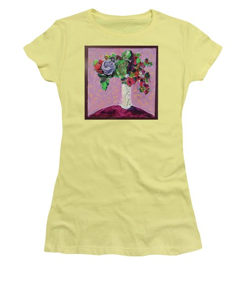 Women's T-Shirt (Junior Cut) featuring the painting Original Bouquetaday Floral Painting 12x12 On Canvas, By Elaine Elliott, 59.00 Incl. Shipping by Elaine Elliott