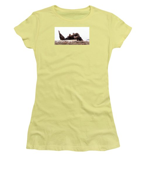 Otters In Boulevard Park Women's T-Shirt (Junior Cut) by Karen Molenaar Terrell