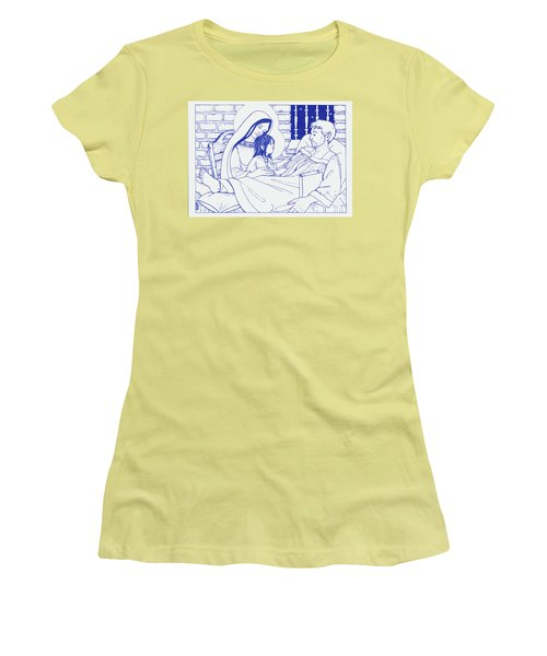 Women's T-Shirt (Athletic Fit) featuring the painting Our Lady And The Holy Child Jesus Visit St Ignatius The Convalescent In Loyola by William Hart McNichols