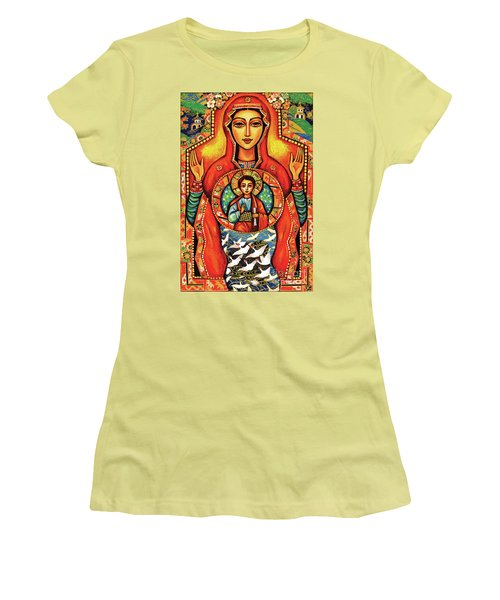 Women's T-Shirt (Junior Cut) featuring the painting Our Lady Of The Sign by Eva Campbell