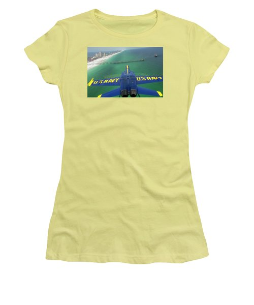 Women's T-Shirt (Junior Cut) featuring the photograph Over Pensacola Beach by Specialist 3rd Class Andrew Johnson