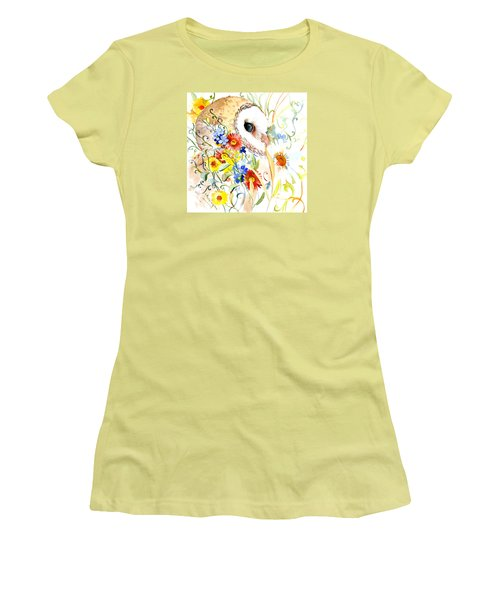 Owl And Flowers Women's T-Shirt (Athletic Fit)
