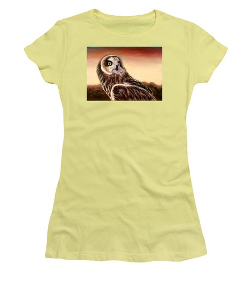 Owl At Sunset Women's T-Shirt (Athletic Fit)
