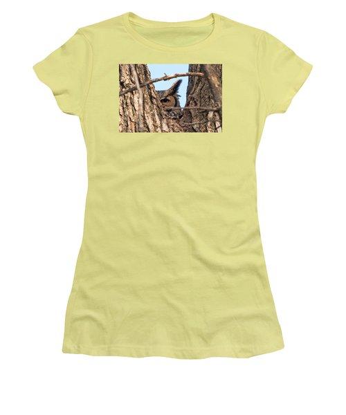 Owl Peek Women's T-Shirt (Junior Cut) by Steve Stuller