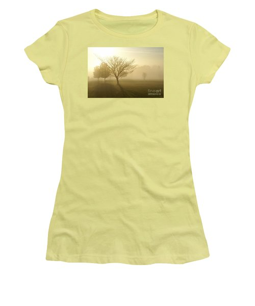 Ozarks Misty Golden Morning Sunrise Women's T-Shirt (Junior Cut) by Jennifer White