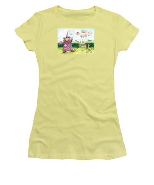 Pigs Might Fly    P8 Women's T-Shirt (Junior Cut) by Charles Cater