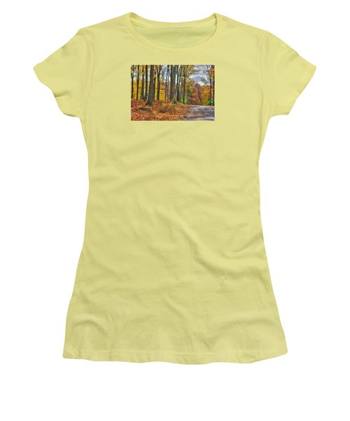 Pa Country Roads - Autumn Colorfest No. 3 - Fire In The Woods - Northumberland County Women's T-Shirt (Junior Cut) by Michael Mazaika