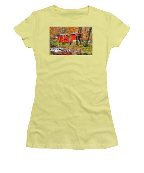 Pa Country Roads- Bartrams / Goshen Covered Bridge Over Crum Creek No.11 Chester / Delaware Counties Women's T-Shirt (Athletic Fit)