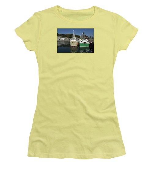 Padstow Fishing Boats Women's T-Shirt (Junior Cut) by Brian Roscorla