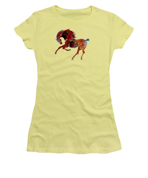 Women's T-Shirt (Junior Cut) featuring the mixed media Painted Horse 3 by Mary Armstrong