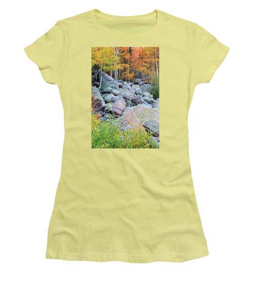 Women's T-Shirt (Junior Cut) featuring the photograph Painted Rocks by David Chandler