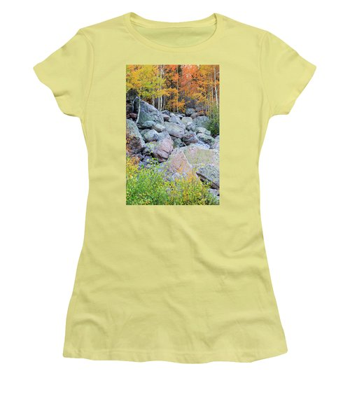 Women's T-Shirt (Athletic Fit) featuring the photograph Painted Rocks by David Chandler