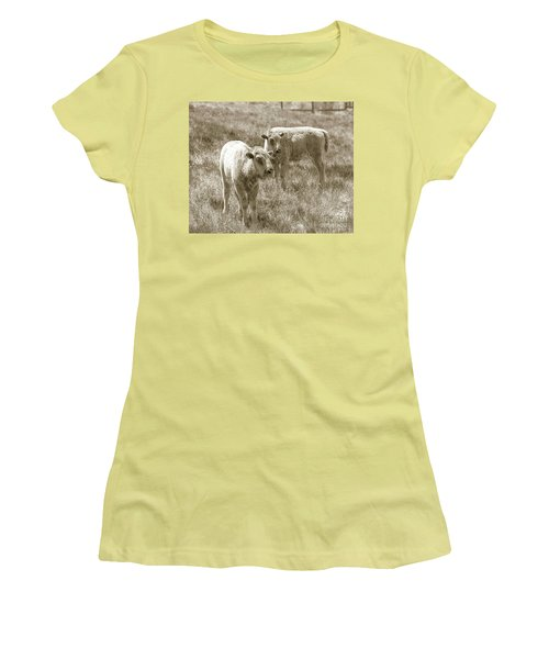Women's T-Shirt (Junior Cut) featuring the photograph Pair Of Baby Buffalos by Rebecca Margraf