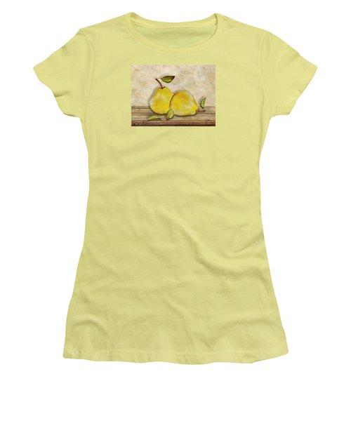 Women's T-Shirt (Junior Cut) featuring the digital art Pair Of Pears by Nina Bradica