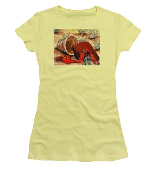 Women's T-Shirt (Junior Cut) featuring the painting Paiute Baskets by Jennifer Lake