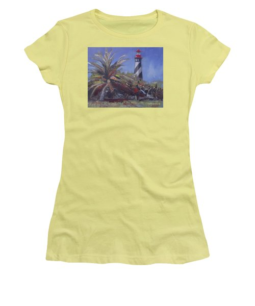 Palm By The Lighthouse Women's T-Shirt (Junior Cut) by Mary Hubley