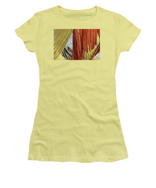 Women's T-Shirt (Junior Cut) featuring the photograph Palm Leaf Abstract by Ben and Raisa Gertsberg