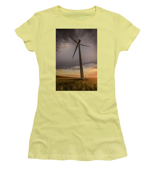 Women's T-Shirt (Junior Cut) featuring the photograph Palouse Windmill At Sunrise by Chris McKenna