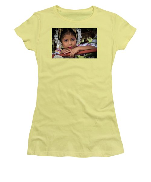 Panamanian Girl On Float In Parade Women's T-Shirt (Athletic Fit)