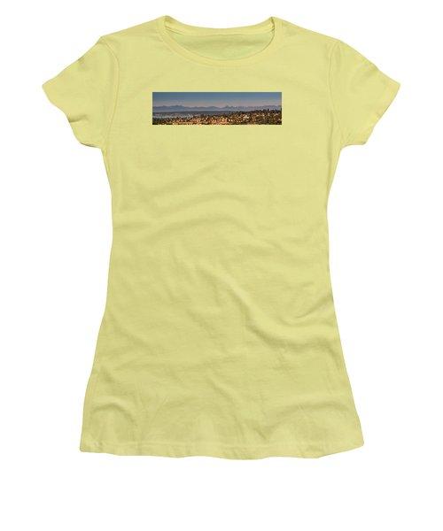 Panorama - Lake Washington - Cascade Mountains Women's T-Shirt (Junior Cut) by E Faithe Lester
