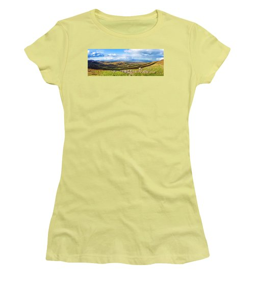 Panorama Of A Colourful Undulating Irish Landscape In Kerry Women's T-Shirt (Junior Cut) by Semmick Photo