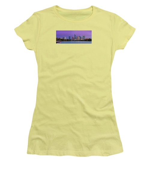 Panorama Of Downtown Austin Skyline From The Lady Bird Lake Boardwalk Trail - Texas Hill Country Women's T-Shirt (Athletic Fit)
