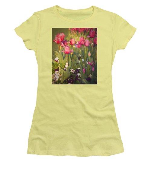 Pansies And Tulips Women's T-Shirt (Junior Cut)