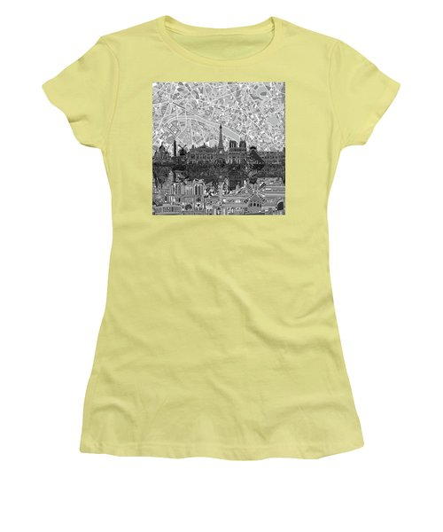 Women's T-Shirt (Junior Cut) featuring the painting Paris Skyline Black And White by Bekim Art