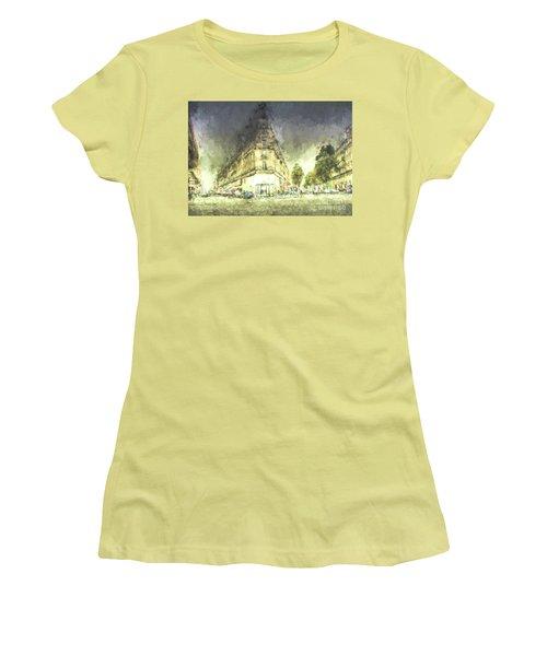 Women's T-Shirt (Junior Cut) featuring the mixed media Paris Streets by Jim  Hatch