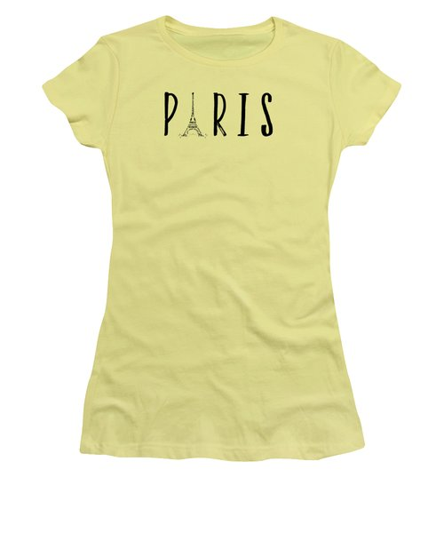 Paris Typography Panoramic Women's T-Shirt (Junior Cut) by Melanie Viola