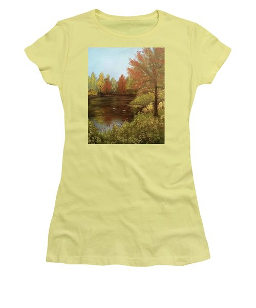 Women's T-Shirt (Junior Cut) featuring the mixed media Park In Autumn by Angela Stout