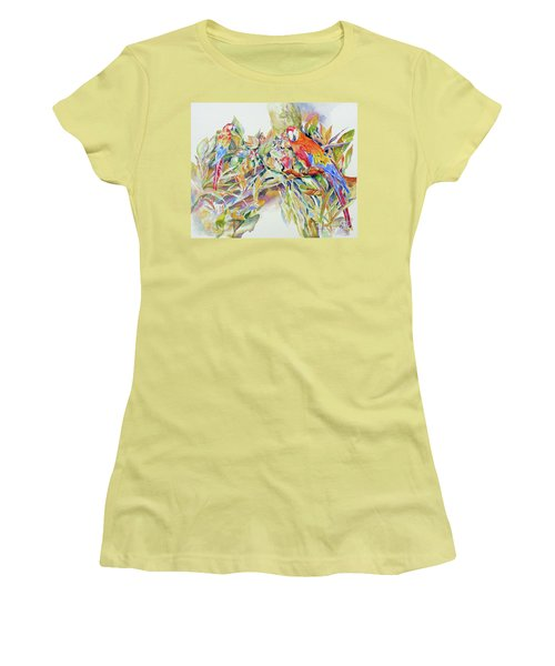 Women's T-Shirt (Junior Cut) featuring the painting Parrots In Paradise by Mary Haley-Rocks