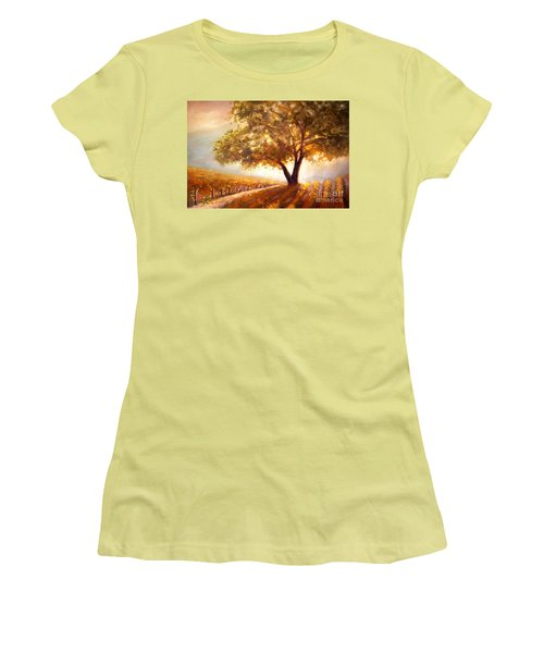 Women's T-Shirt (Junior Cut) featuring the painting Paso Robles Golden Oak by Michael Rock