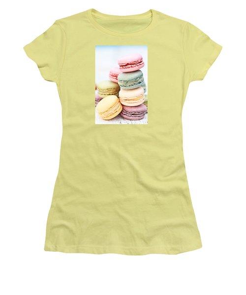 Pastel Macarons Women's T-Shirt (Junior Cut) by Stephanie Frey