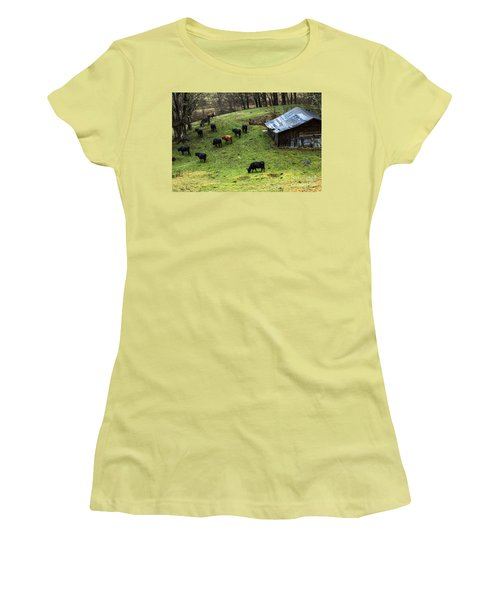 Pasture Field And Cattle Women's T-Shirt (Junior Cut) by Thomas R Fletcher