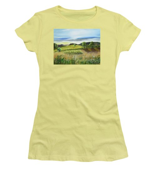 Women's T-Shirt (Athletic Fit) featuring the painting Pasture Love At Chateau Meichtry - Ellijay Ga by Jan Dappen