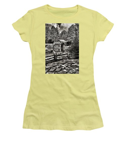 Women's T-Shirt (Junior Cut) featuring the photograph Pathway To Marby Mill In Black And White by Paul Ward